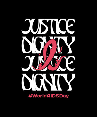 T-Shirt Design Template Featuring Kind Quotes for World AIDS Day 4152