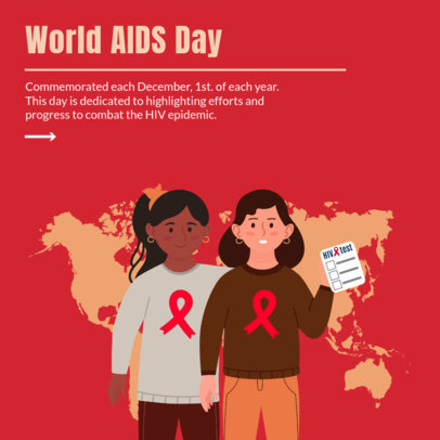Instagram Post Design Generator Featuring a World AIDS Theme and Illustrations 4153