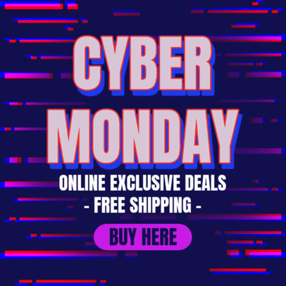 Ad Banner Design Template Featuring Cyber Monday Offers 4143