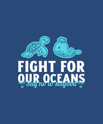 Vegan T-Shirt Design Generator Featuring Cute Marine Animals 4479b-el1