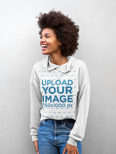Hoodie Mockup of a Woman With an Afro in Front of a White Wall m16906-r-el2
