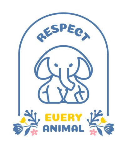 T-Shirt Design Maker Featuring an Anti-speciesism Theme and an Elephant Clipart 4487a-el1
