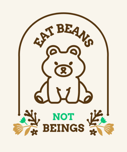 Vegan T-Shirt Design Template Featuring a Quote and a Bear Clipart 4487e-el1