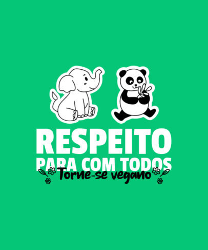 T-Shirt Design Maker Featuring Vegan-Themed Quotes and Cute Animals 4479d-el1