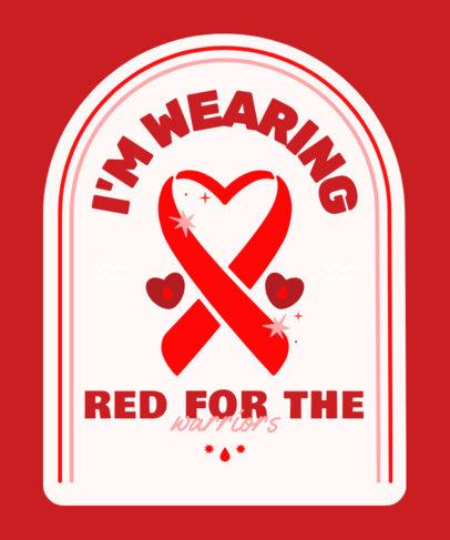 T-Shirt Design Template for a World AIDS Day with a Red Ribbon Graphic 4151c