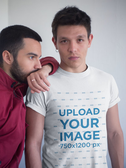 Transparent Gay Pride Shirts Mockup of a Man Wearing a Tee with his Boyfriend a19971