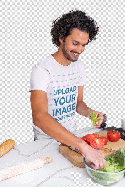 Transparent T-Shirt Mockup Featuring a Curly-Haired Man Cooking at Home m1050