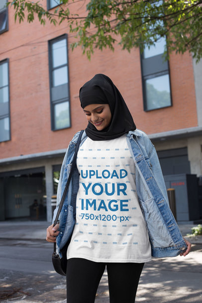 Transparent Mockup of a Woman with a Hijab Wearing a Crewneck T-Shirt 28411