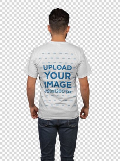Transparent Back Shot T-Shirt Mockup of a Man with a Dark Jeans 21104