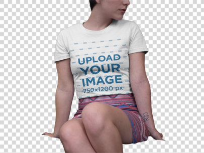 Transparent Mockup of a Girl Wearing a Round Neck Tshirt Against Pillows 18445