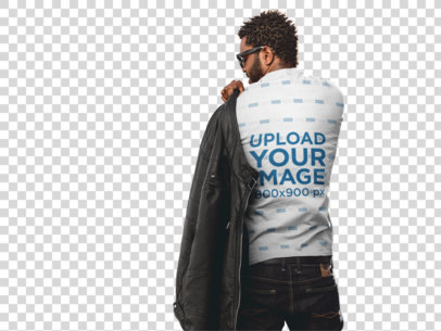 Transparent Back of a Man Wearing a T-Shirt Putting on a Leather Jacket a9528