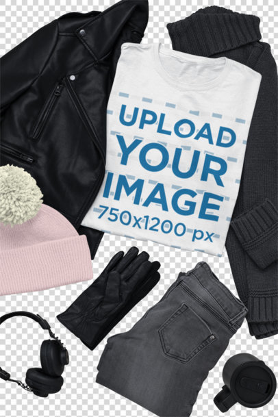 Transparent Outfit Mockup of a T-Shirt Surrounded by Winter Garments 26393