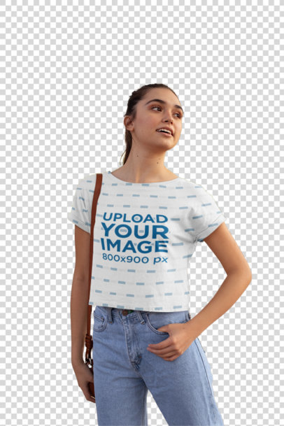 Transparent Crop Top Mockup Featuring a Young Woman in a Street Full of Trees 28572