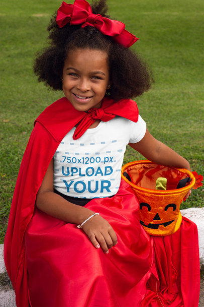 Transparent Mockup of a Girl Wearing a T-Shirt and Carrying a Pumpkin Bucket 29303