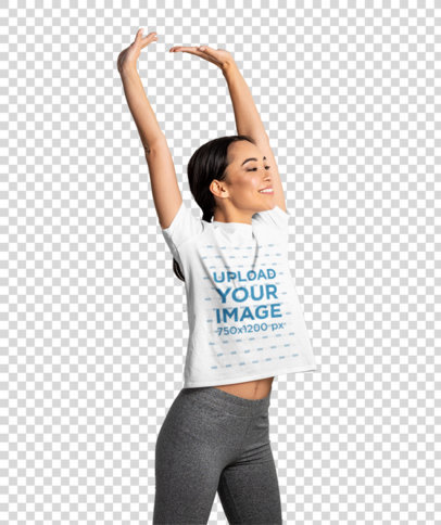 Transparent T-Shirt Mockup Featuring a Woman Just Waking Up 46055-r-el2