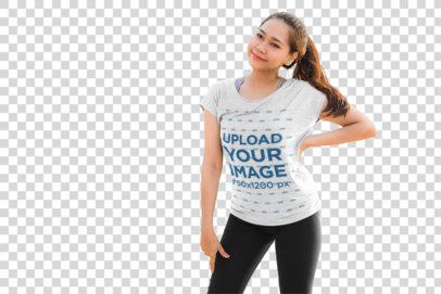 Transparent T-Shirt Mockup of a Smiling Woman Posing 39446-r-el2