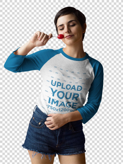 Transparent Raglan Tee Mockup Being Worn by a Happy Dancing Girl with a Lollipop a17537