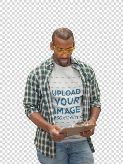 Transparent Warehouse Worker Wearing a T-Shirt Mockup While Checking the Inventory a20445