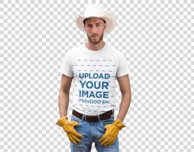 Transparent T-Shirt Mockup Featuring a Cowboy Man at a Ranch 27973