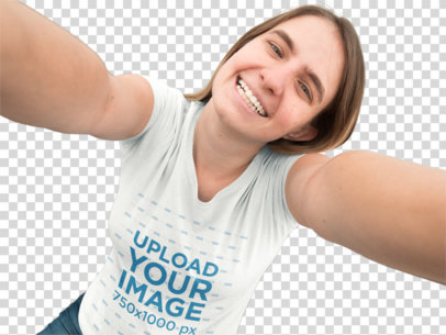 Transparent Blonde Young Woman Taking a Selfie and Smiling T-Shirt Mockup a12926
