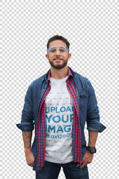 Transparent White Man Wearing a T-Shirt Mockup at the Warehouse a20380