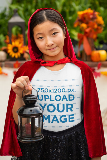 Transparent T-Shirt Mockup of a Girl with a Red Cape 29285