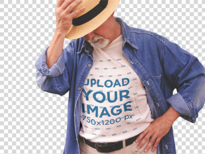 Transparent Stylish White Senior Man Wearing a Round Neck Tee Mockup with a Hat a12389