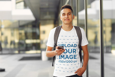 Transparent T-Shirt Mockup Featuring a Student at a College Campus 39177-r-el2