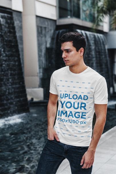 Transparent T-Shirt Mockup of a Young Man Walking on a Street 423-el