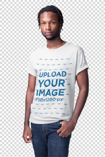 Transparent Young Black Man Wearing a Short Sleeved Tshirt Mockup in a White Room a19914