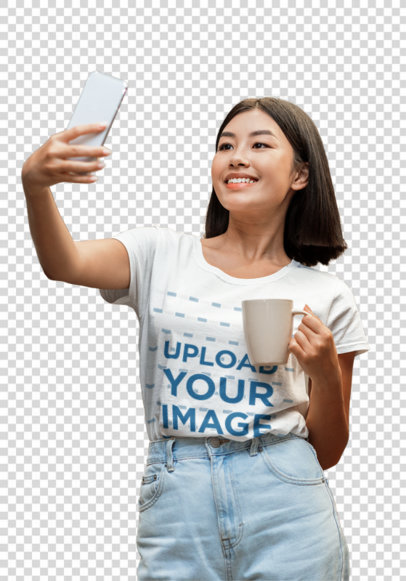 Transparent Tee Mockup of a Woman Taking a Selfie at Her Kitchen 45722-r-el2