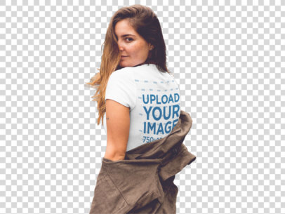 Transparent Girl Looking Over Her Shoulder Wearing a Tee Mockup a11855