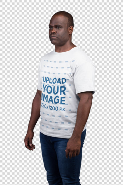 Transparent T-Shirt Mockup of a Serious Man With His Arms by His Side 21482