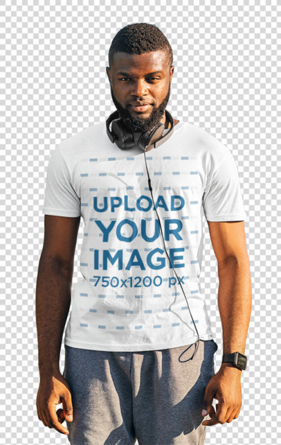 Transparent Activewear Mockup of a Bearded Man With a T-Shirt Posing by a River 46353-r-el2
