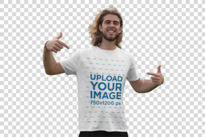 Transparent Mockup Featuring a Young Man in the Park Pointing at His Tee 32323