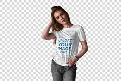 Transparent Mockup of a Woman Wearing a T-Shirt in a Small Boutique 4972-el1
