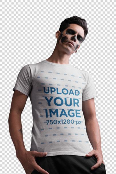 Transparent T-Shirt Mockup Featuring a Man with Skeleton Makeup 22940