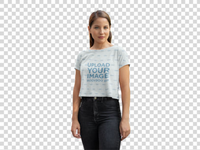 Transparent Mockup of a Woman Wearing a Sublimated Crop Top on a Street 28559