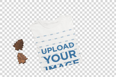 Transparent Mockup of a Folded T-Shirt Featuring a Hot Cocoa with Marshmallows m143