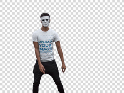 Transparent Crewneck Tee Mockup of a Man with a Mask Outside a Haunted House 22945