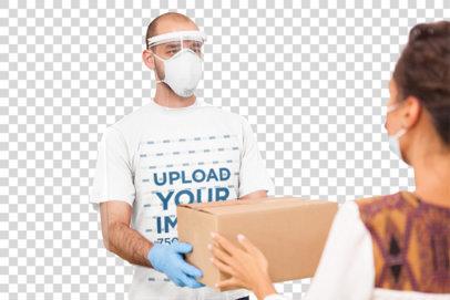 Transparent T-Shirt Mockup Featuring a Delivery Man Handling a Box 43016-r-el2