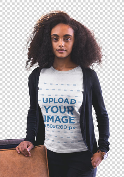Transparent Mockup of a Woman with Curly Hair Wearing a T-shirt 20424
