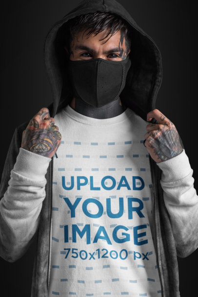 Transparent T-Shirt Mockup of a Goth Man with Tattooed Eyes Wearing a Mouth Mask 26598
