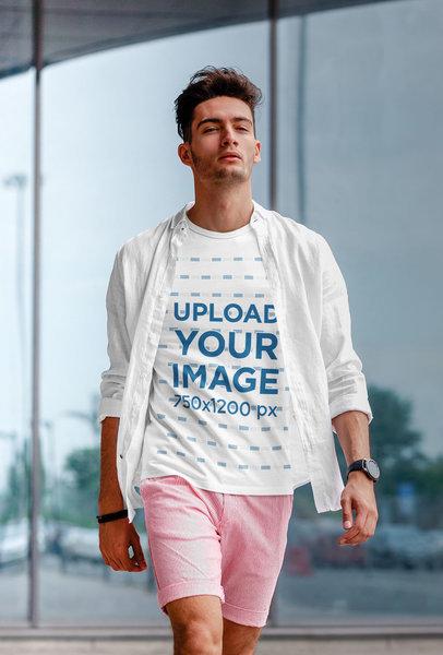 Transparent T-Shirt Mockup Featuring a Stylish Man Walking Down the Street m1876-r-el2