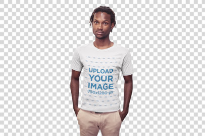 Transparent Black Man with Short Dreadlocks Wearing a T-Shirt Mockup at the Office a20520