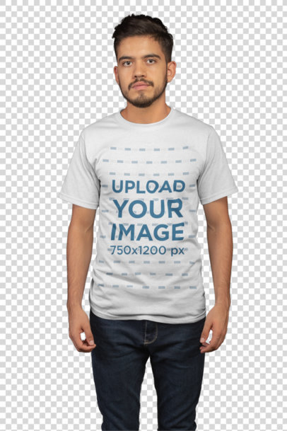 Transparent Mockup Featuring a Young Man with Beard Wearing a T Shirt and Jeans 21101