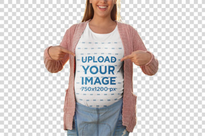 Transparent Mockup of a Happy Pregnant Woman Pointing at Her T-Shirt 26671