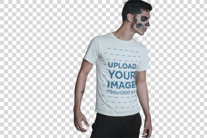Transparent T-Shirt Mockup of a Man in Halloween Makeup and with a Strong Stare 23016