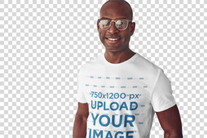 Transparent T-Shirt of a Man with Glasses Posing in a Work Place 35453-r-el2