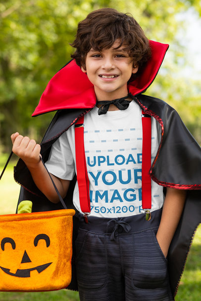 Transparent Mockup of a Boy Wearing a T-Shirt and a Vampire Costume 29289